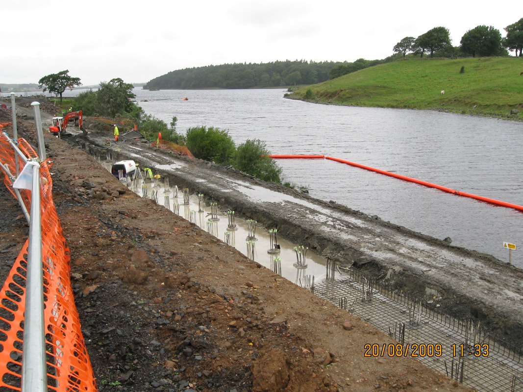 Reclamation of part of Hillend Loch for replacement cyclepath as part of Airdrie Bathgate Railway Reopening.